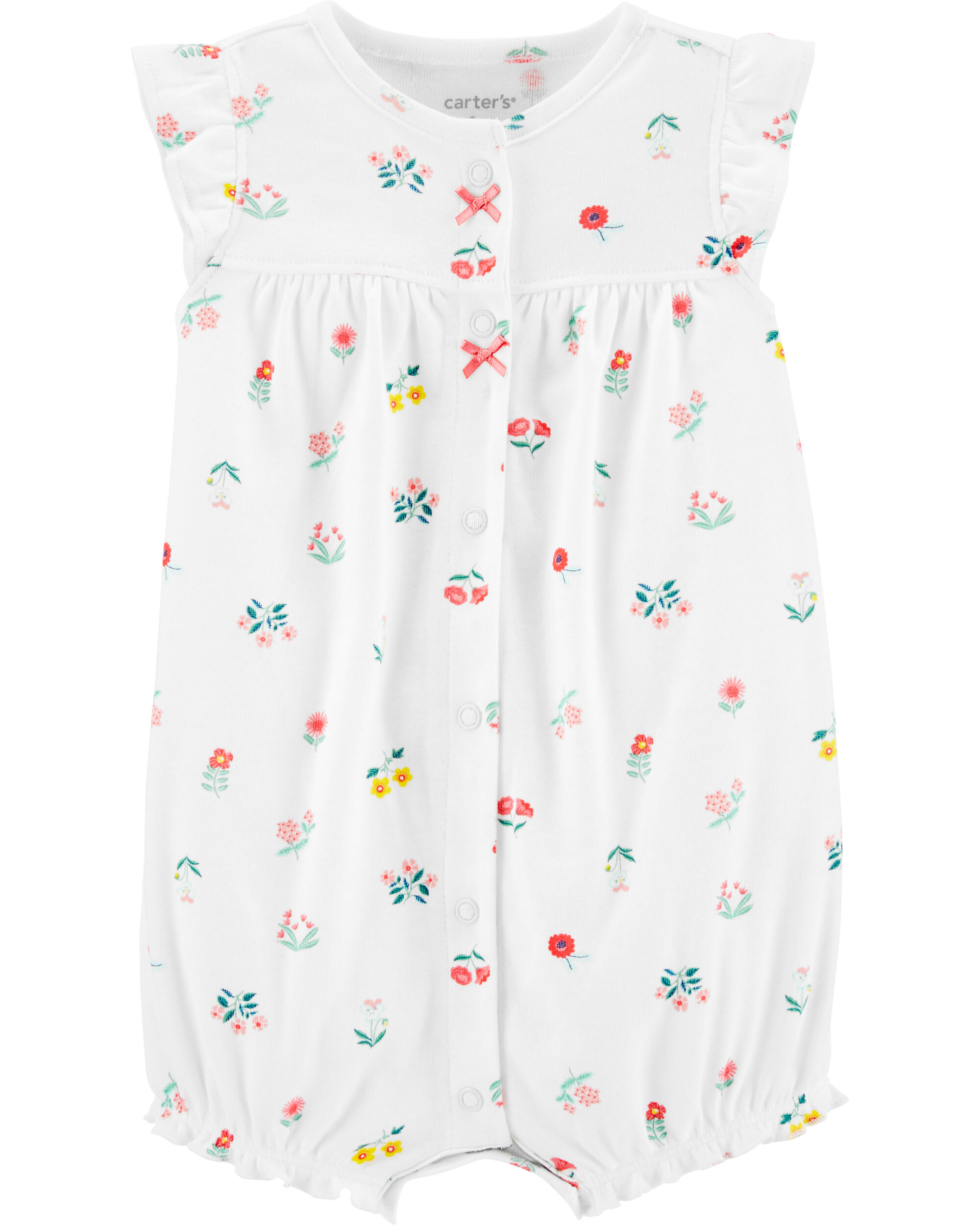 Carters Baby Girls Floral Snap Up Romper