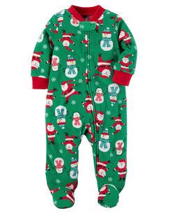 baby boy sleep play pajamas carter s fleece zip up christmas sleep play