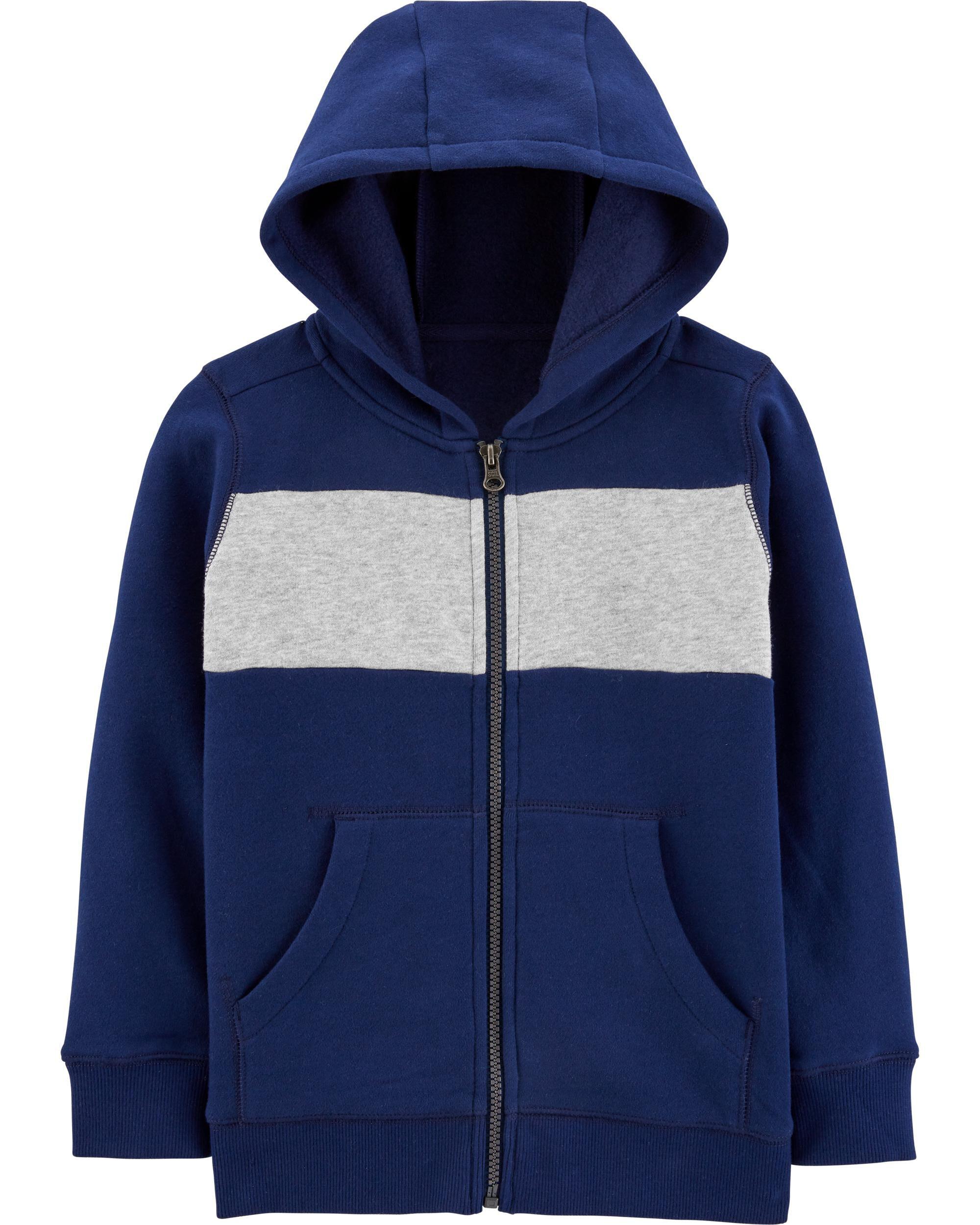 Carters Boys Brown and Navy Colorblock Fleece Half Zip Pullover 3m