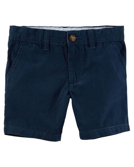 Flat-Front Canvas Shorts