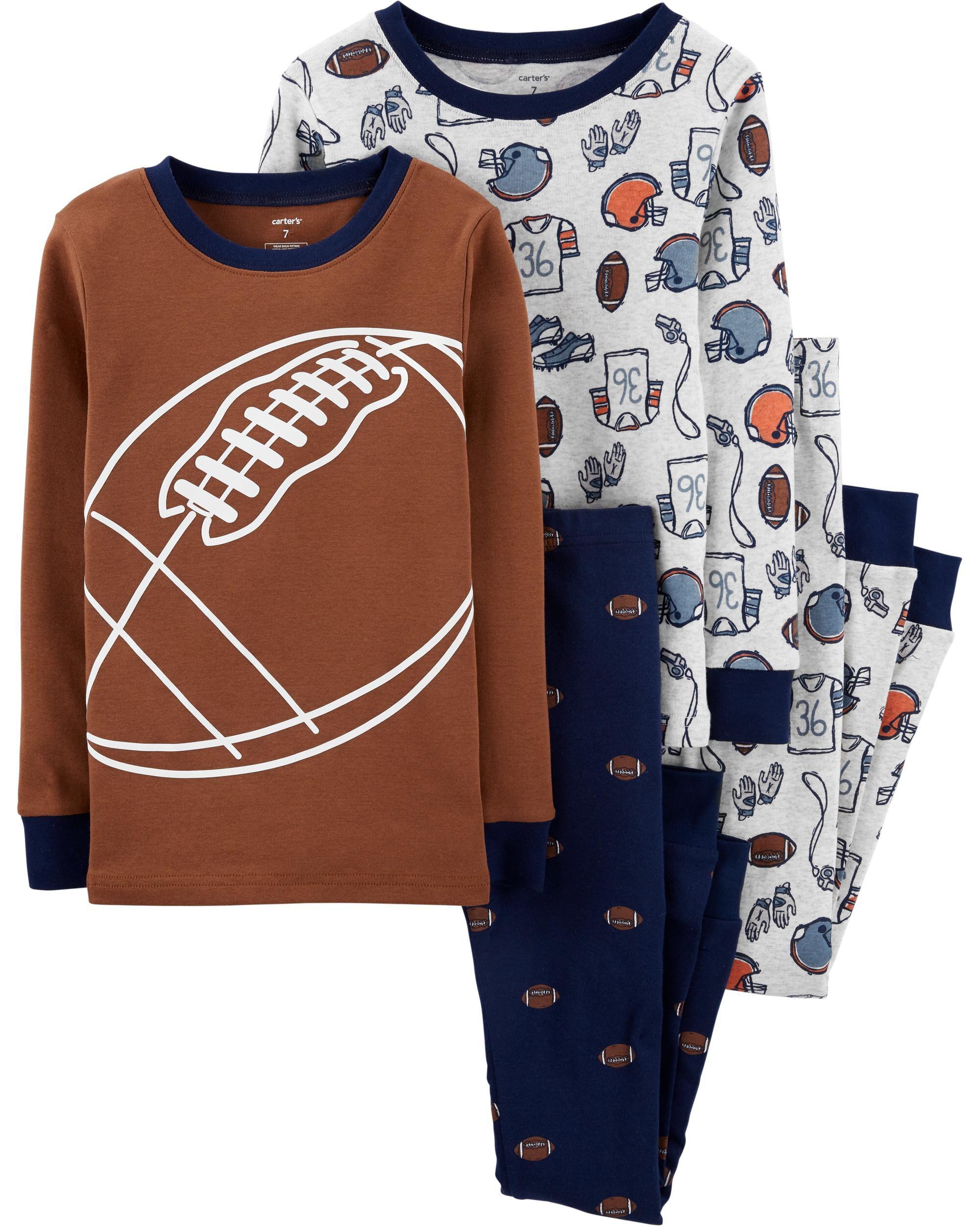 4-Piece Football Snug Fit Cotton PJs