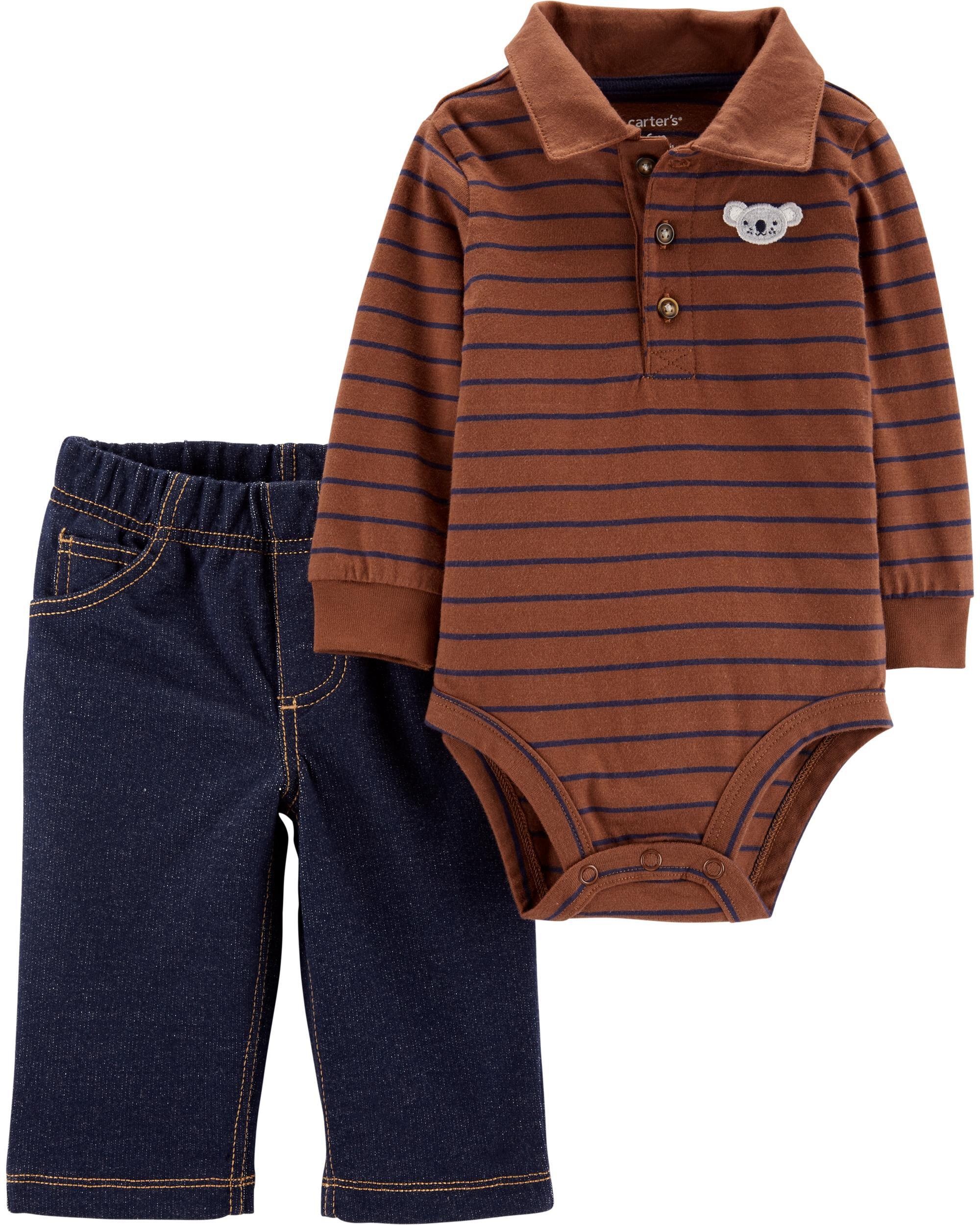 *CLEARANCE* 2-Piece Striped Polo Bodysuit Pant Set