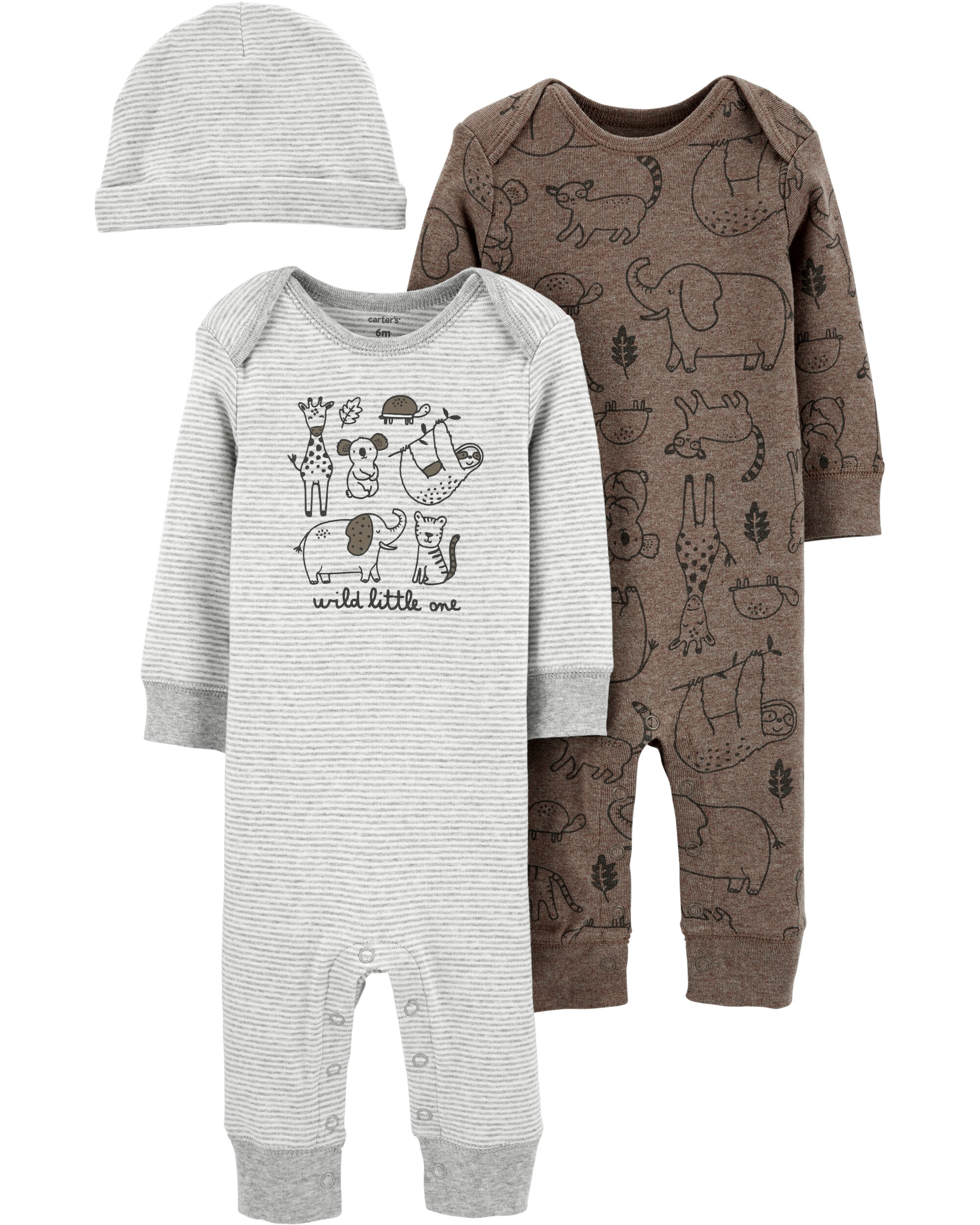 Baby Boys/' Monkeying Around Bunting Gown and Hat 4 Preemie Newborn Sizes