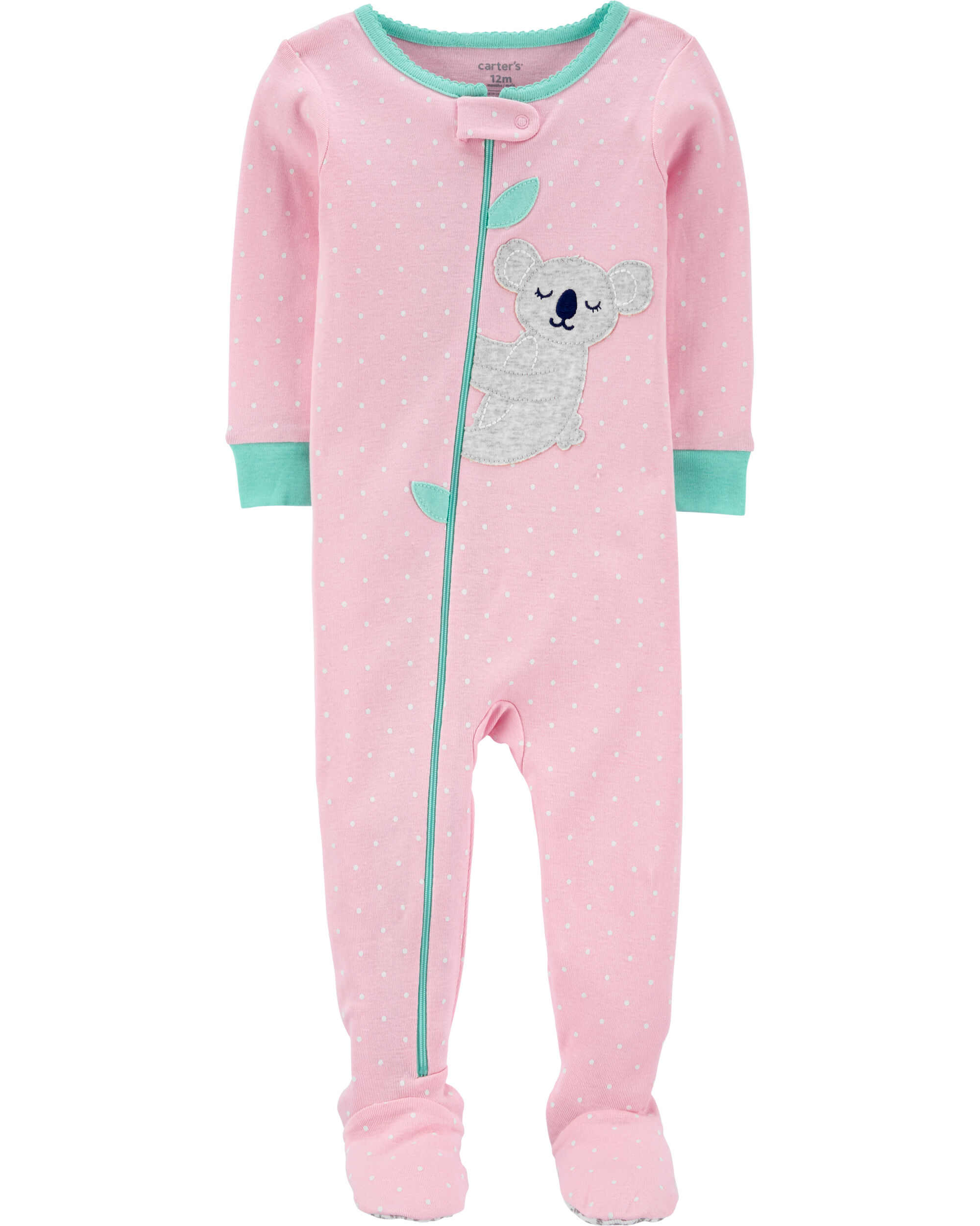 1-Piece Koala Snug Fit Cotton Footie PJs
