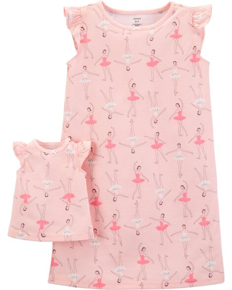 bf384b3ff8f9a 2-Pack Doll Ballerina Poly Nightgowns | Carters.com