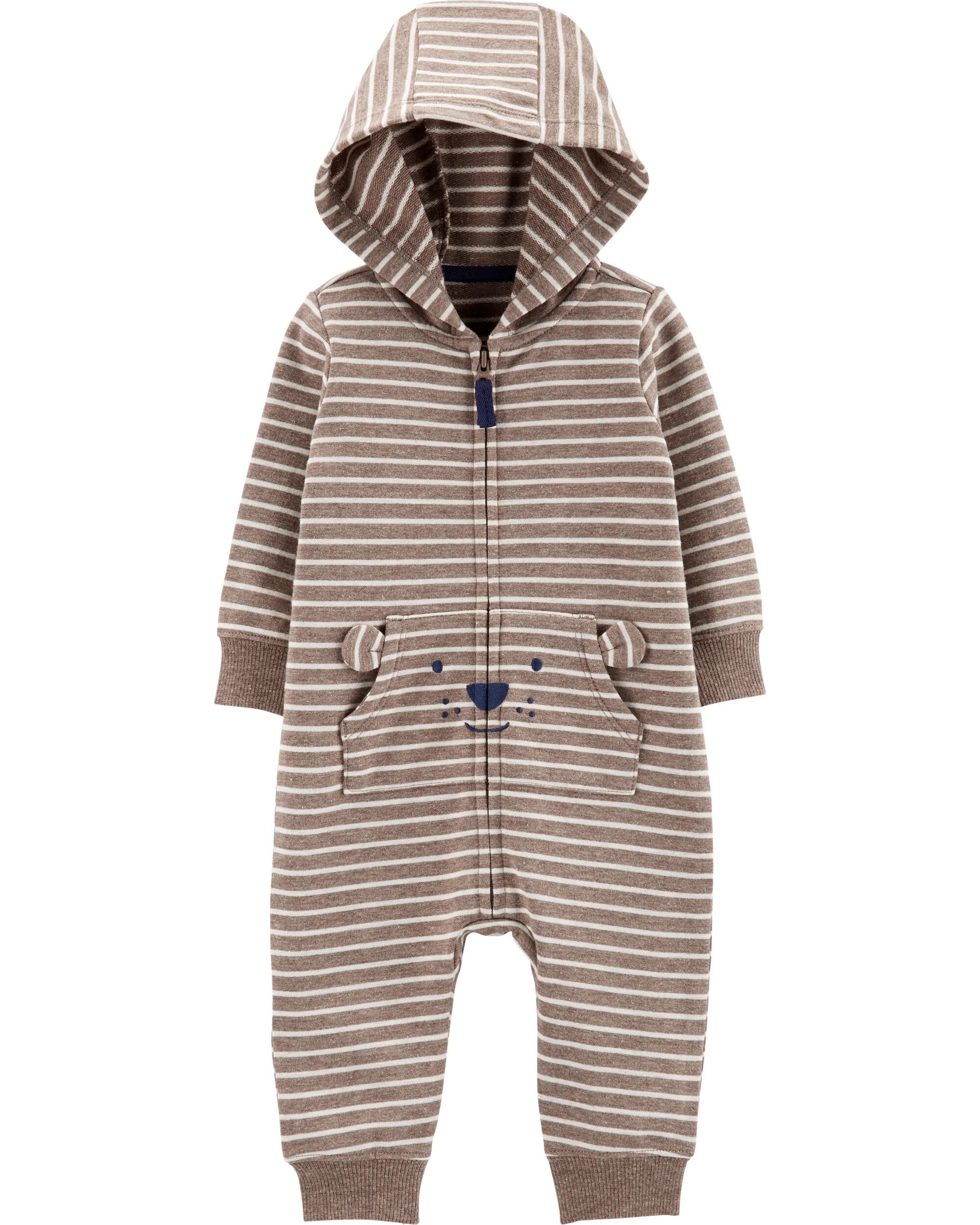 Striped Hooded French Terry Jumpsuit