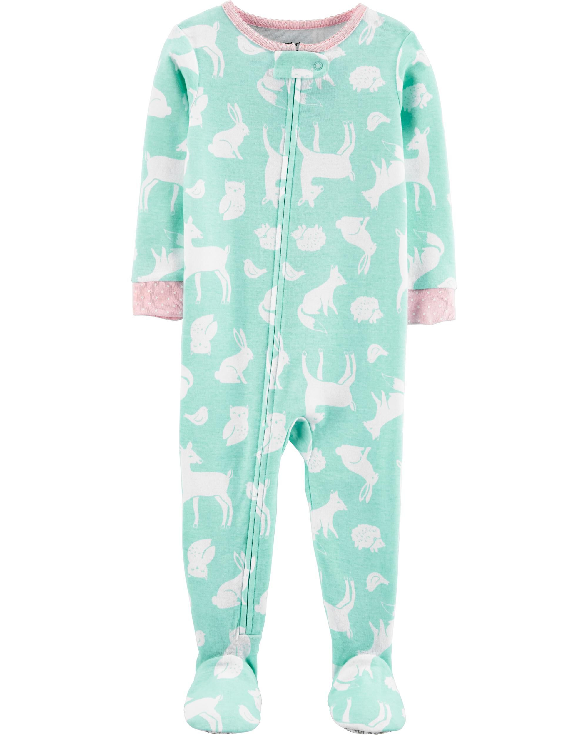*CLEARANCE* 1-Piece Woodland Creatures Snug Fit Cotton Footie PJs