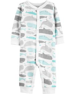 ed43996fb35 Whale Snap-Up Cotton Footless Sleep   Play