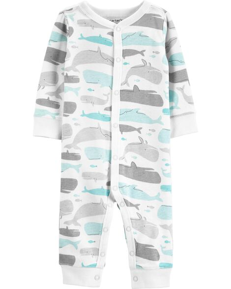 Whale Snap-Up Cotton Footless Sleep & Play