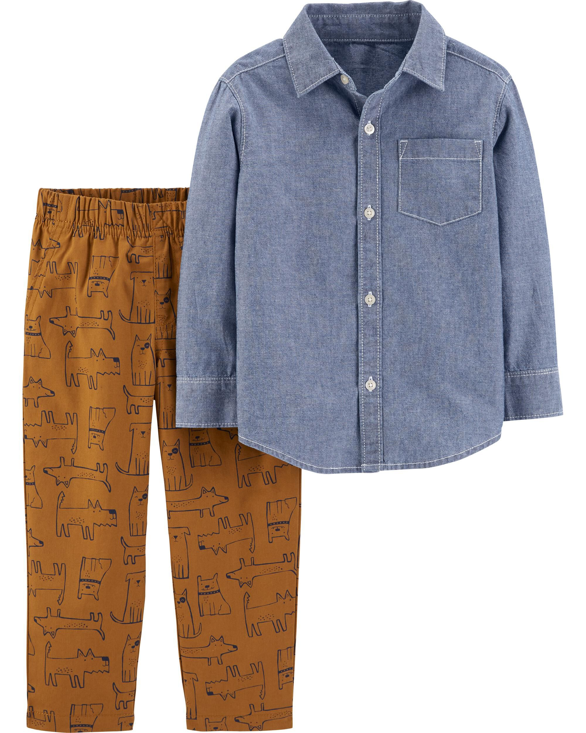 *CLEARANCE* 2-Piece Chambray Button-Front Top & Dog Pant Set
