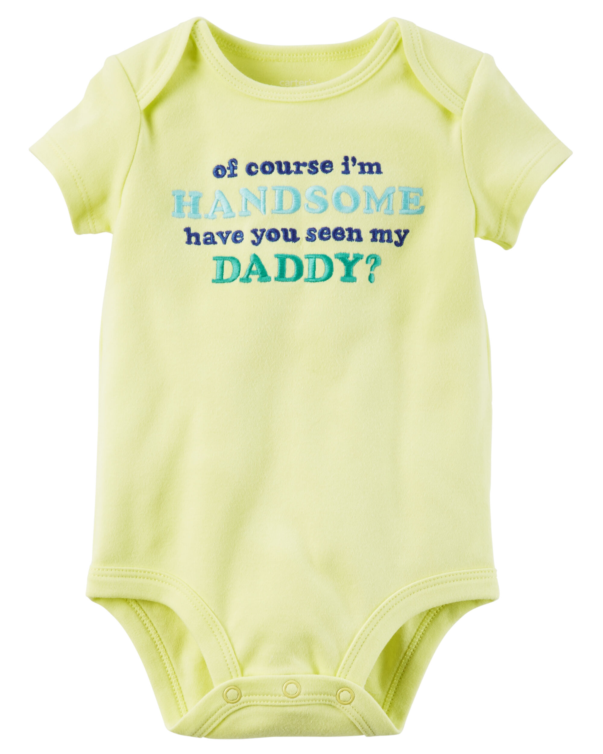 Handsome Like Daddy Baby Vest Baby Grow 100/% Cotton Boys Bodys