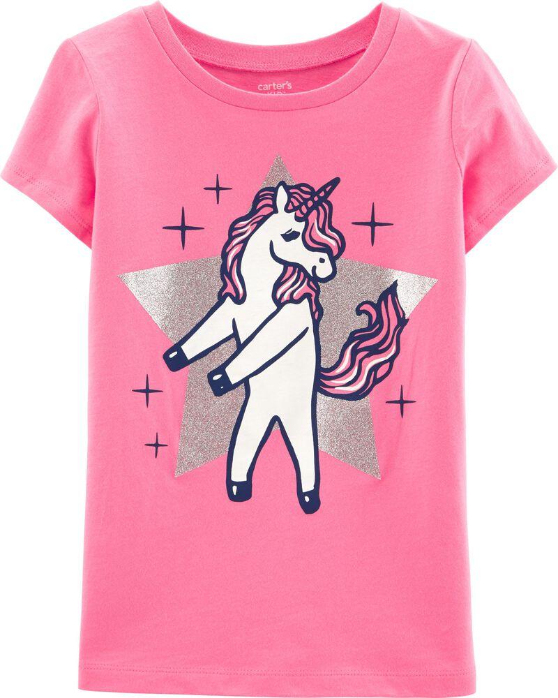 Carter/'s Unicorn Kitty T Shirt Girls Size 4 5 Totally Meowgical Glitter New Tee