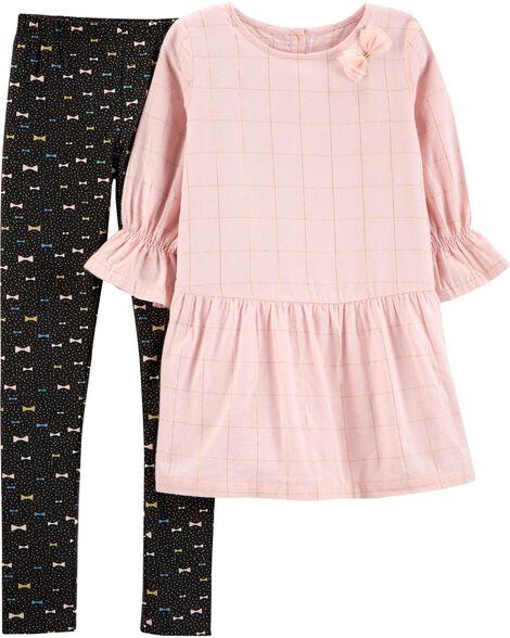 aba2e213ba299 2-Piece Flannel Top & Bow Legging Set | Carters.com