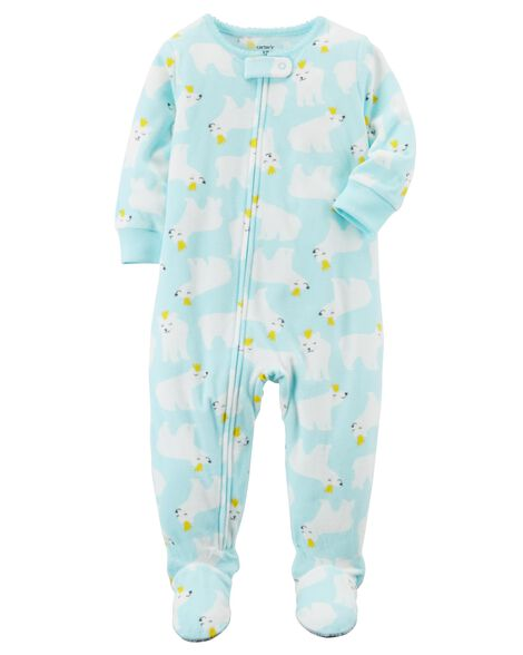 010f5c19ab3a 1-Piece Polar Bear Fleece PJs