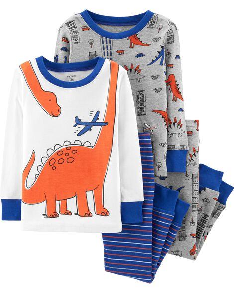 e19dc0bd95 4-Piece Dinosaur Snug Fit Cotton PJs ...
