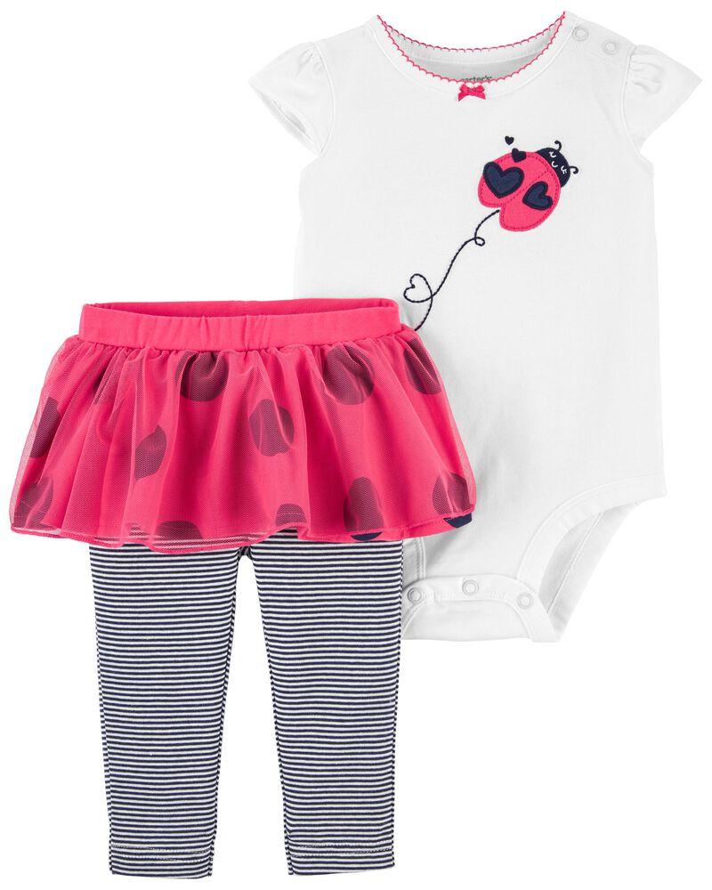 Carter/'s Infant Girls 2 Piece Outfit Denim Knit Bib Skirt w// Floral Bodysuit NWT