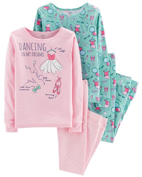 bcf0bc0898c6 4-Piece Dancing Snug Fit Cotton PJs