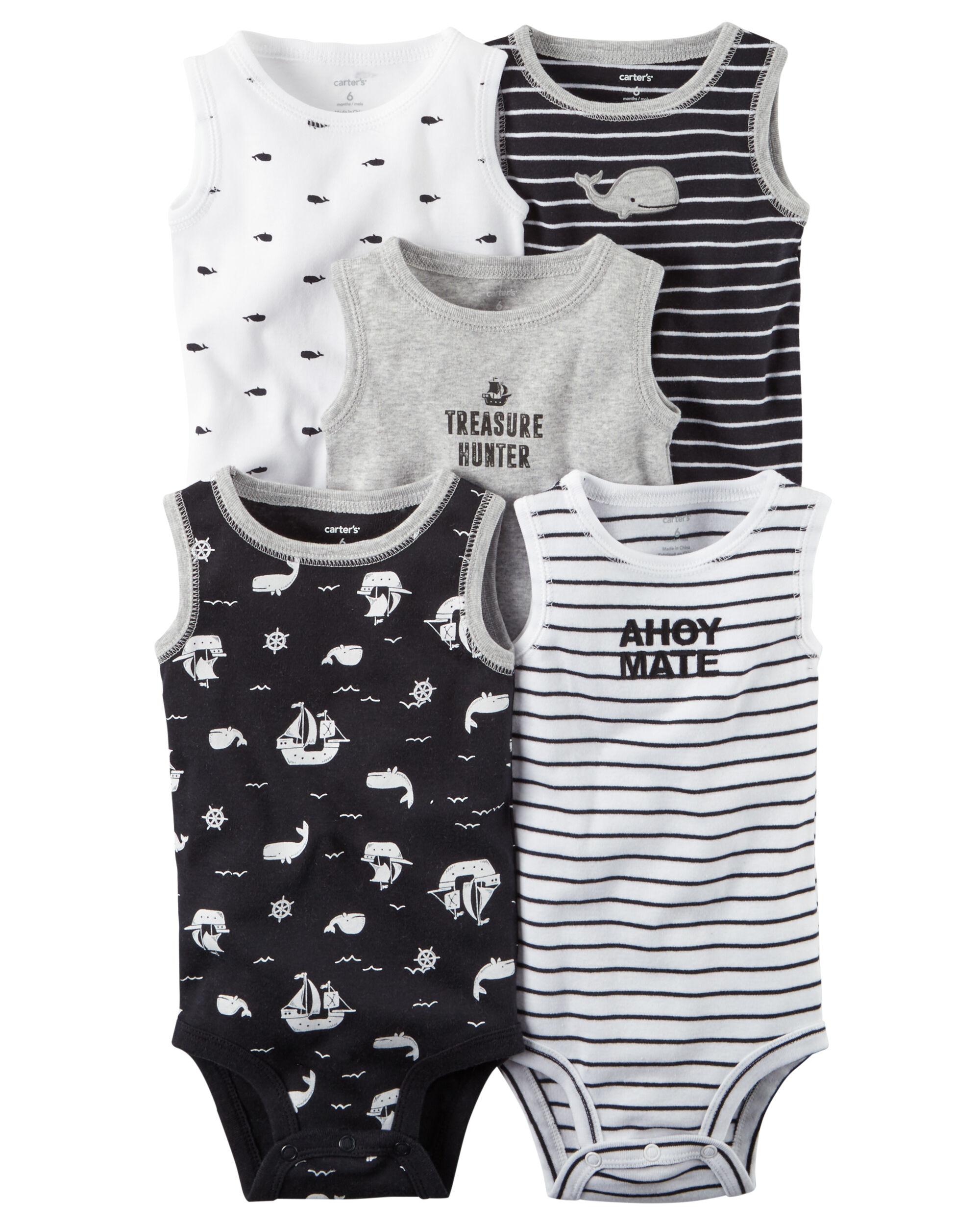 5 Pack Little Matey Sleeveless Original Bodysuits