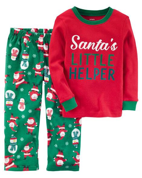 8ee9e930f3a5 2-Piece Christmas Cotton   Fleece PJs
