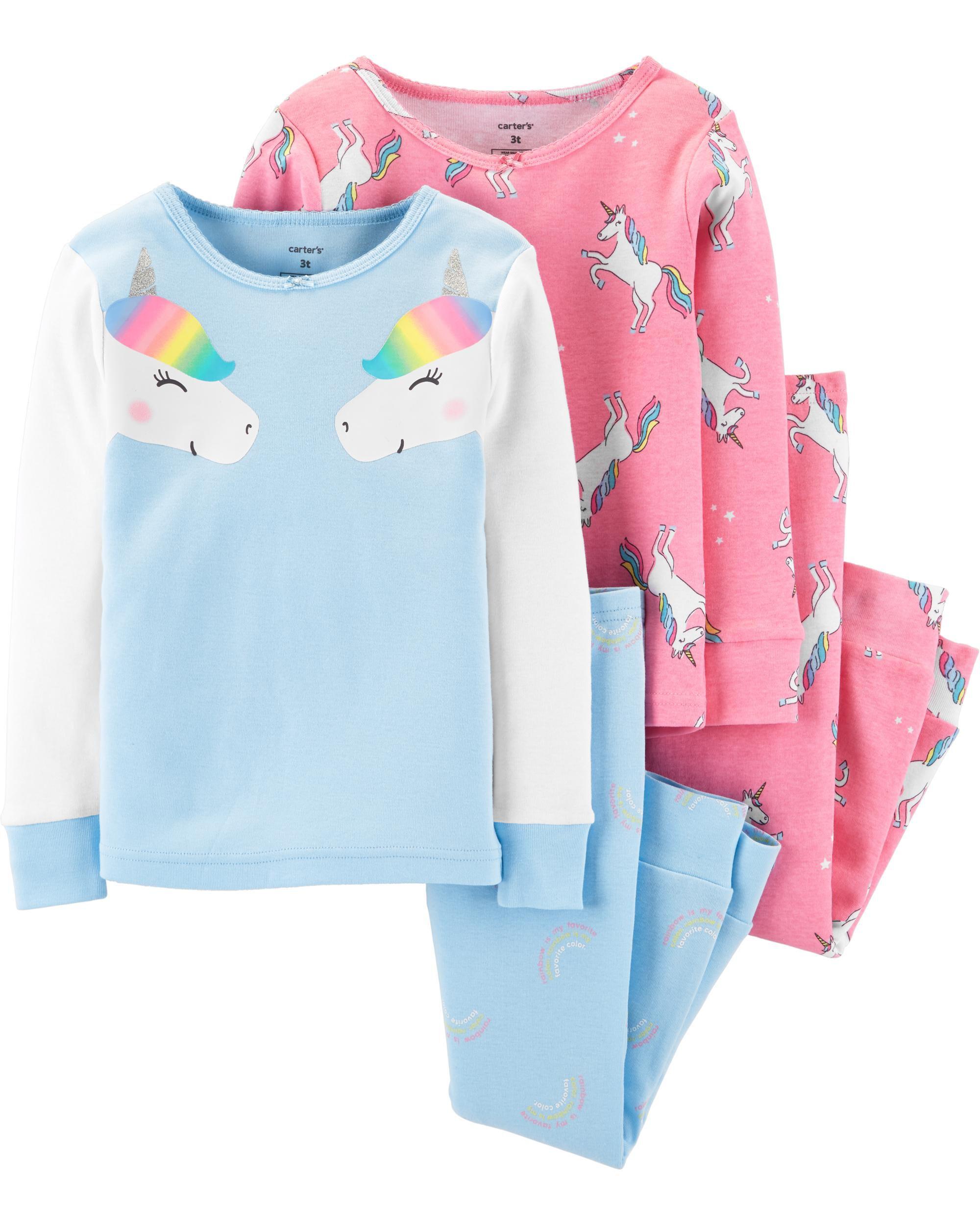 4-Piece Unicorn Snug Fit Cotton PJs