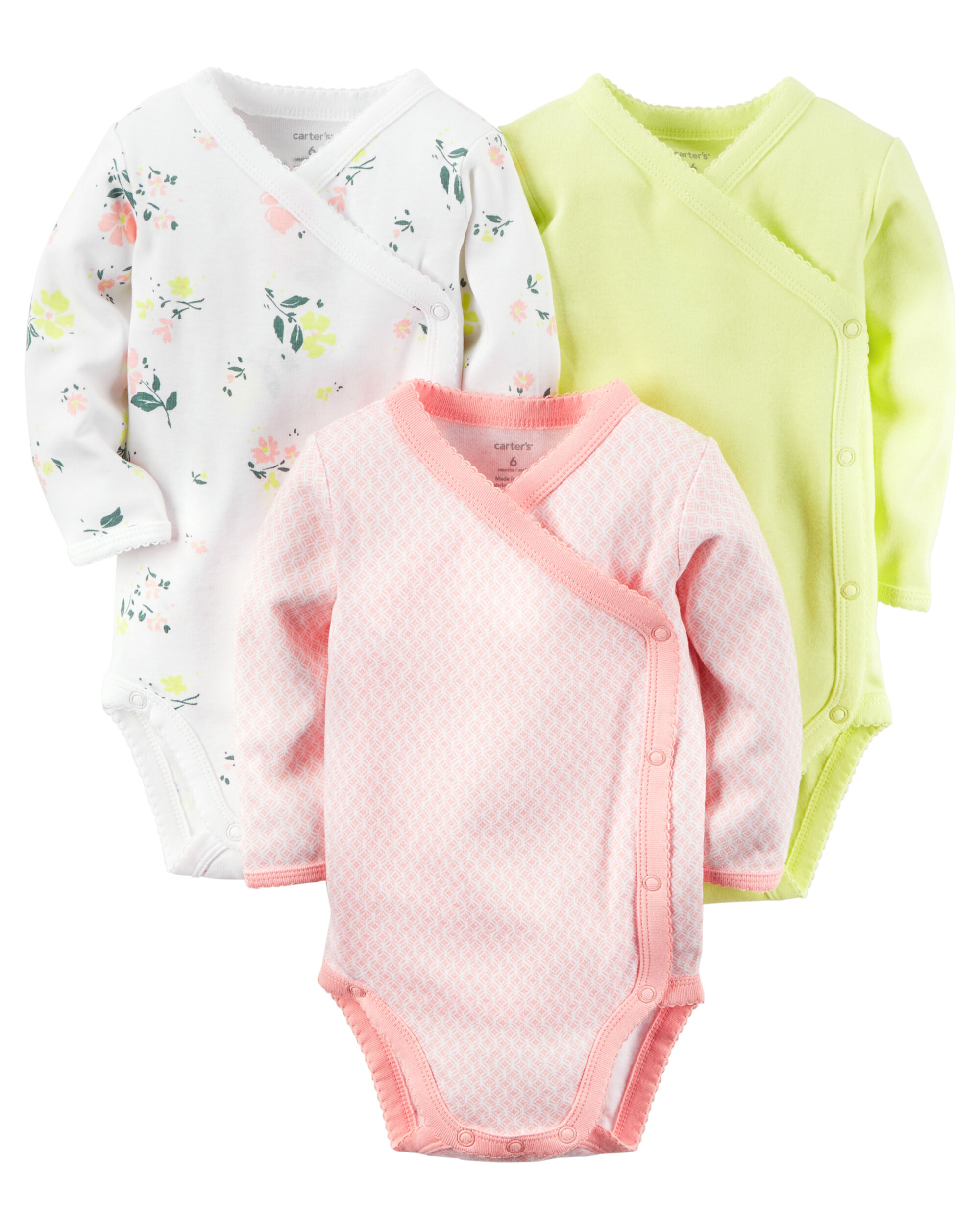 3 Pack Long Sleeve Side Snap Bodysuits Carters Com