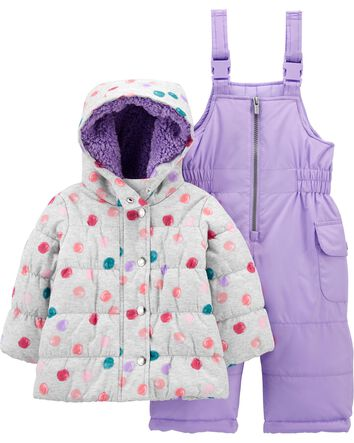 Carter/'s Infant Girls Hooded Pram Snowsuit With Mittens  Size 3-6 Months $70.00