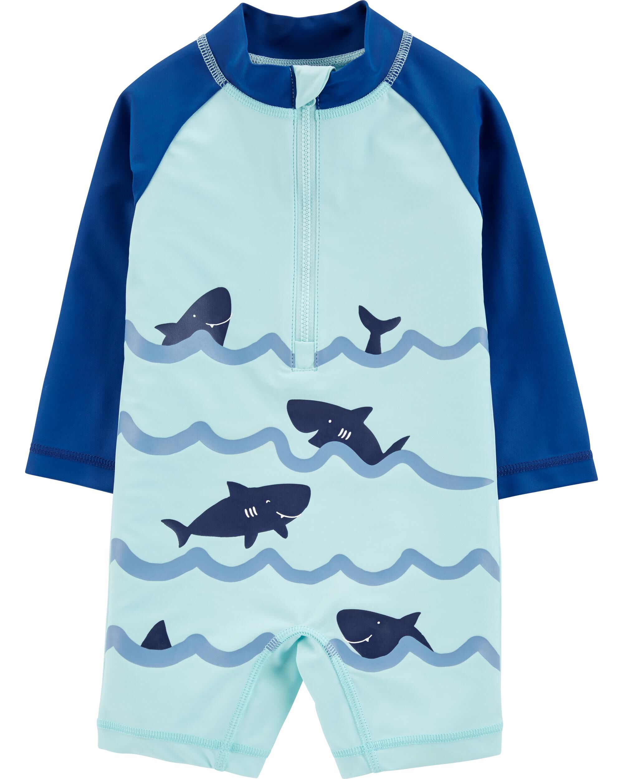 Carter/'s Infant Boys Green Shark Rash Guard Set Size 3//6M 6//9M 12M 18M