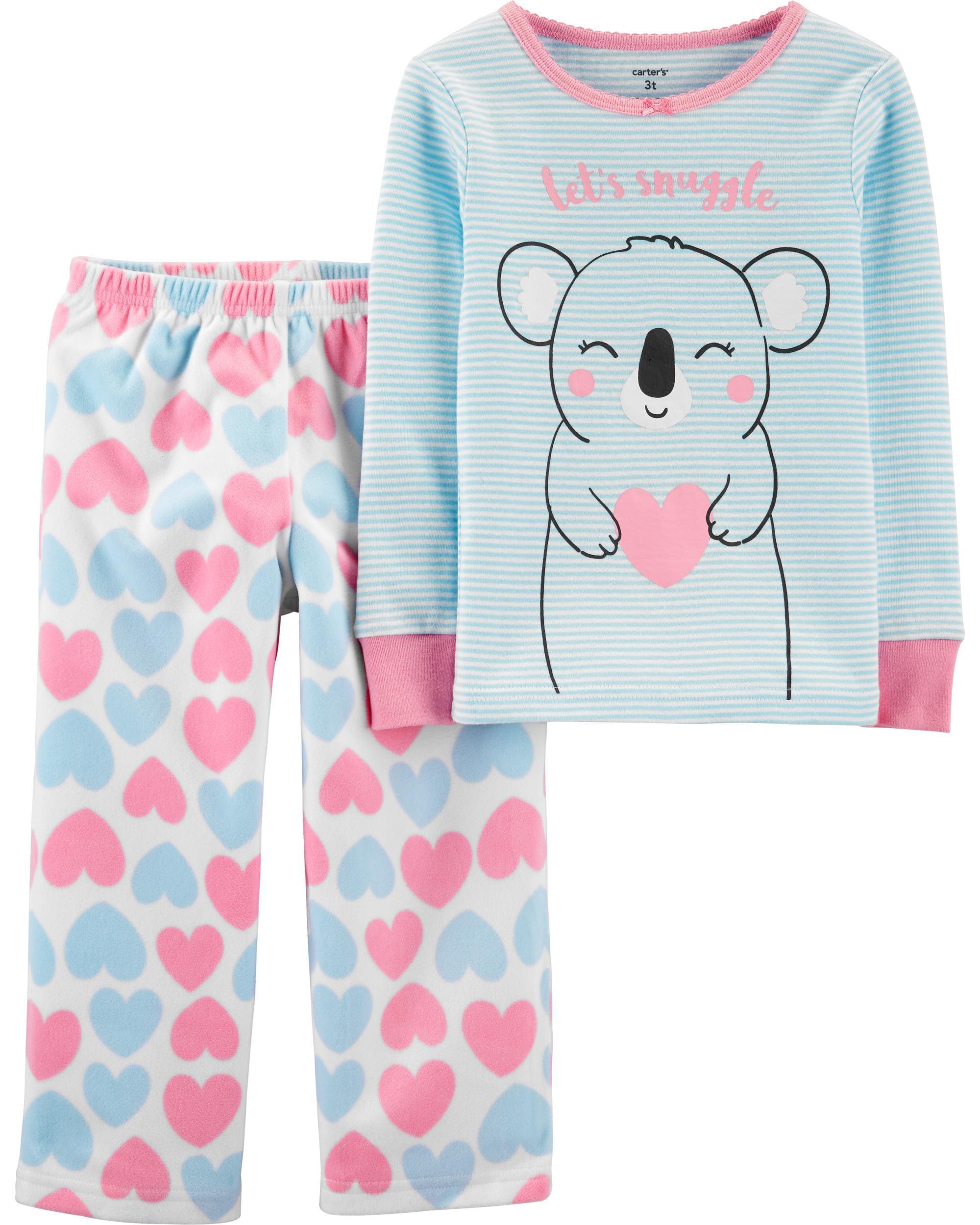 2-Piece Koala Snug Fit Cotton & Fleece PJs