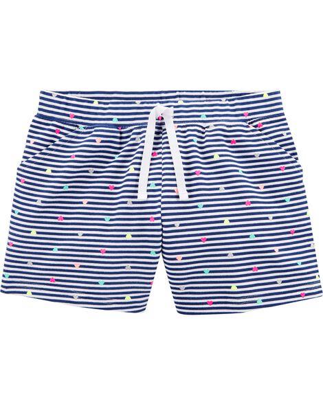 Striped Polka Dot French Terry Shorts