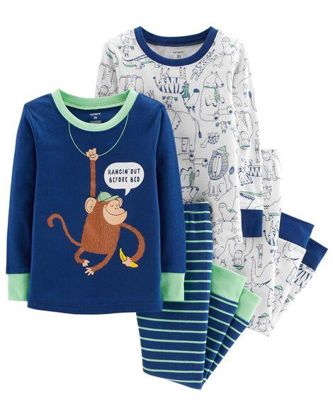 f6729c027043 4-Piece Monkey Snug Fit Cotton PJs