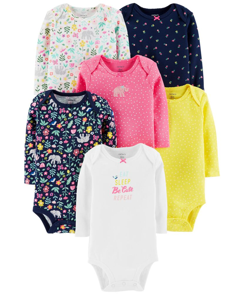 Carters Baby Girls 7 Pack Long Sleeve Bodysuits