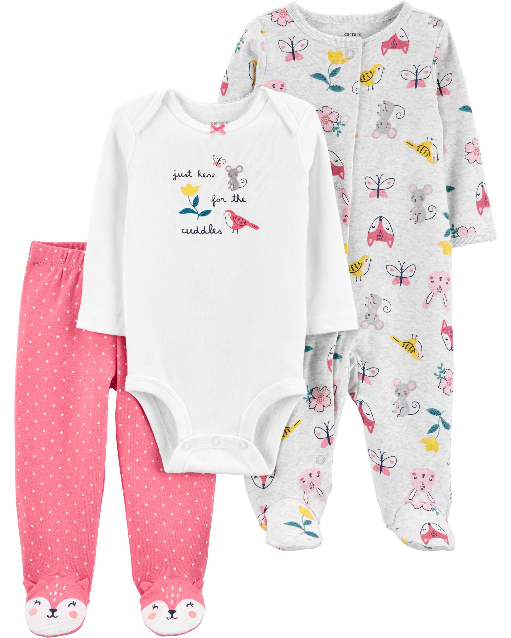 *CLEARANCE* 3-Piece Floral Bodysuit & Footed Pant Set