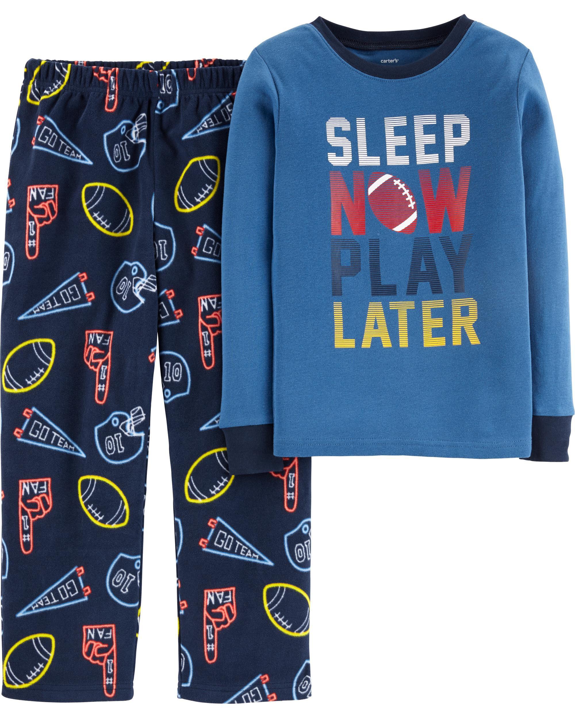 2-Piece Sports Snug Fit Cotton & Fleece PJs