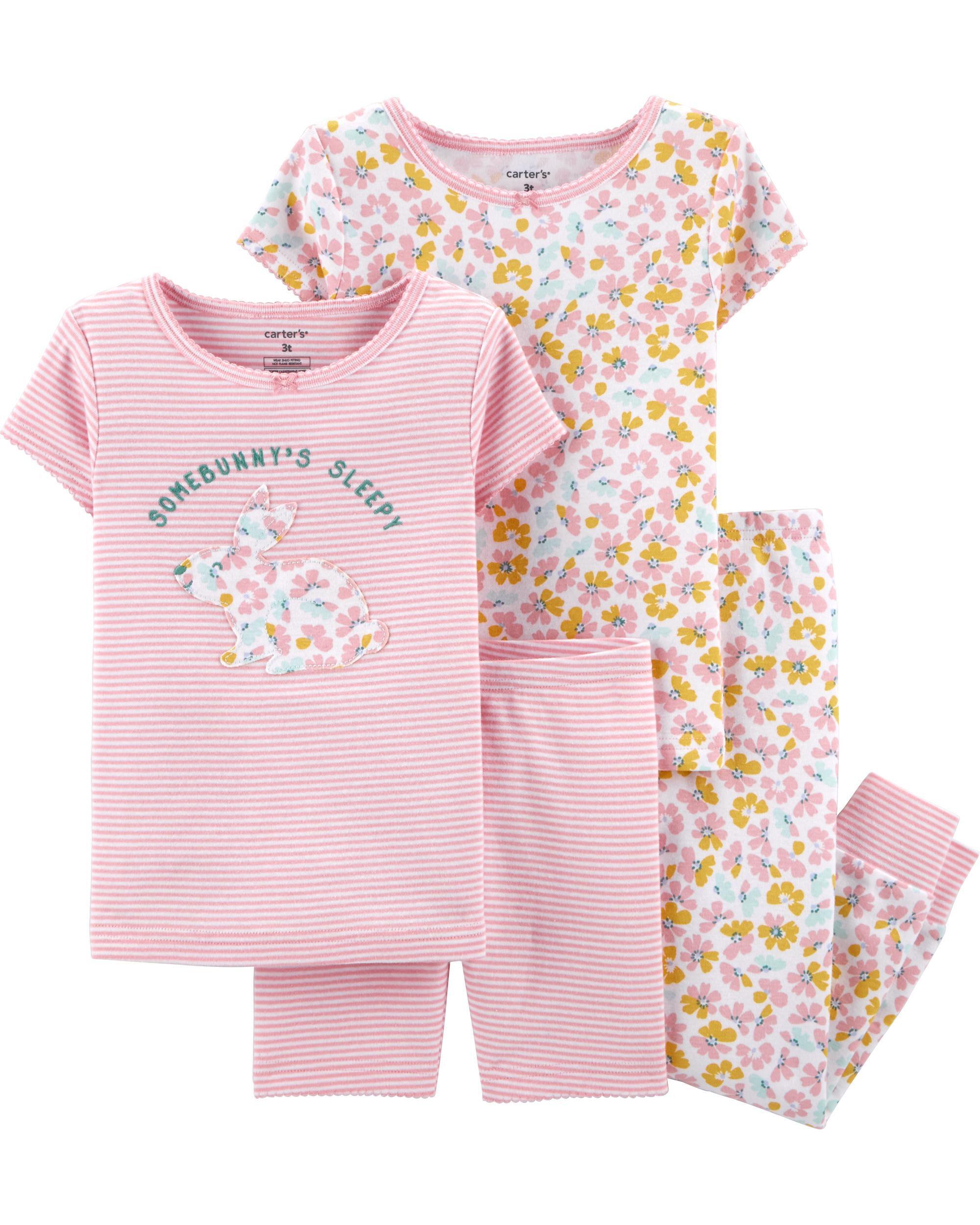 4-Piece Floral Bunny Snug Fit Cotton PJs
