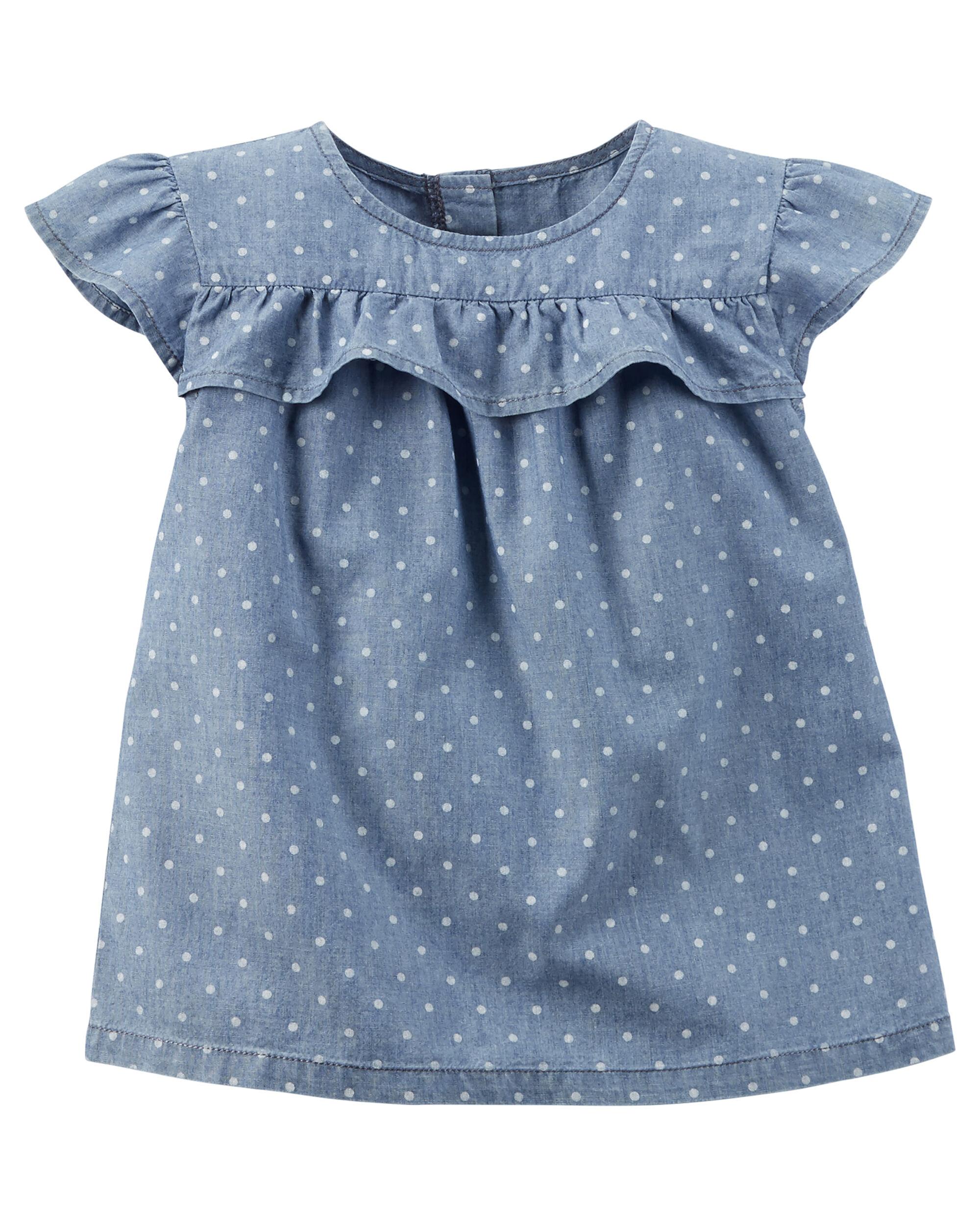 Baby Girl Polka Dot Chambray Top