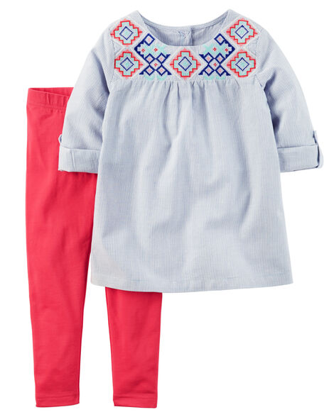 019ae15a2e4 2-Piece Embroidered Tunic & Legging Set | Carters.com