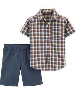 a16bf69c3 2-Piece Plaid Button-Front Top & Canvas Short Set
