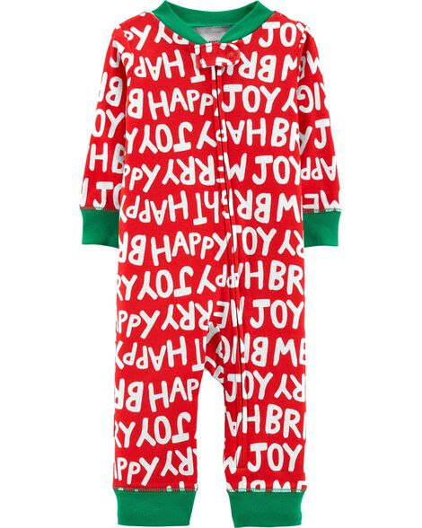 cb1fbfceacab 1-Piece Christmas Snug Fit Cotton Footless PJs
