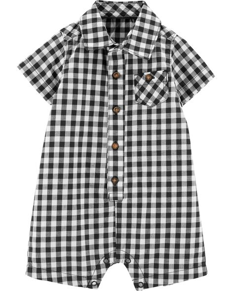 bde9efd15 Gingham Button-Front Romper