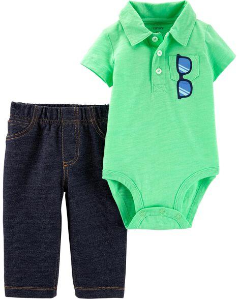 5d0b7e7c4c7f6 2-Piece Polo Bodysuit Pant Set | Carters.com