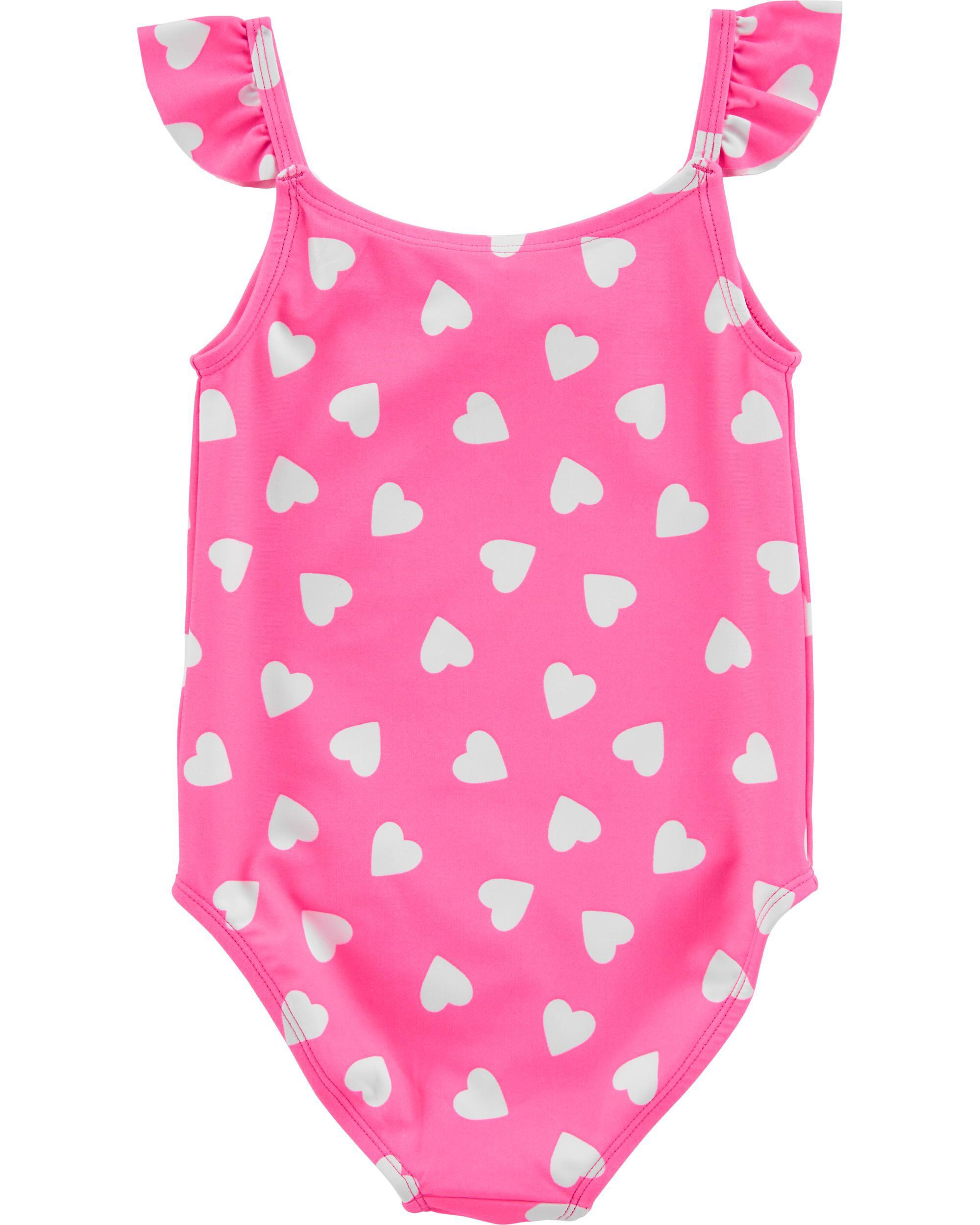 Baby Girl Carters Flamingo One-Piece Swimsuit Beach Pool Fun Size 12M New