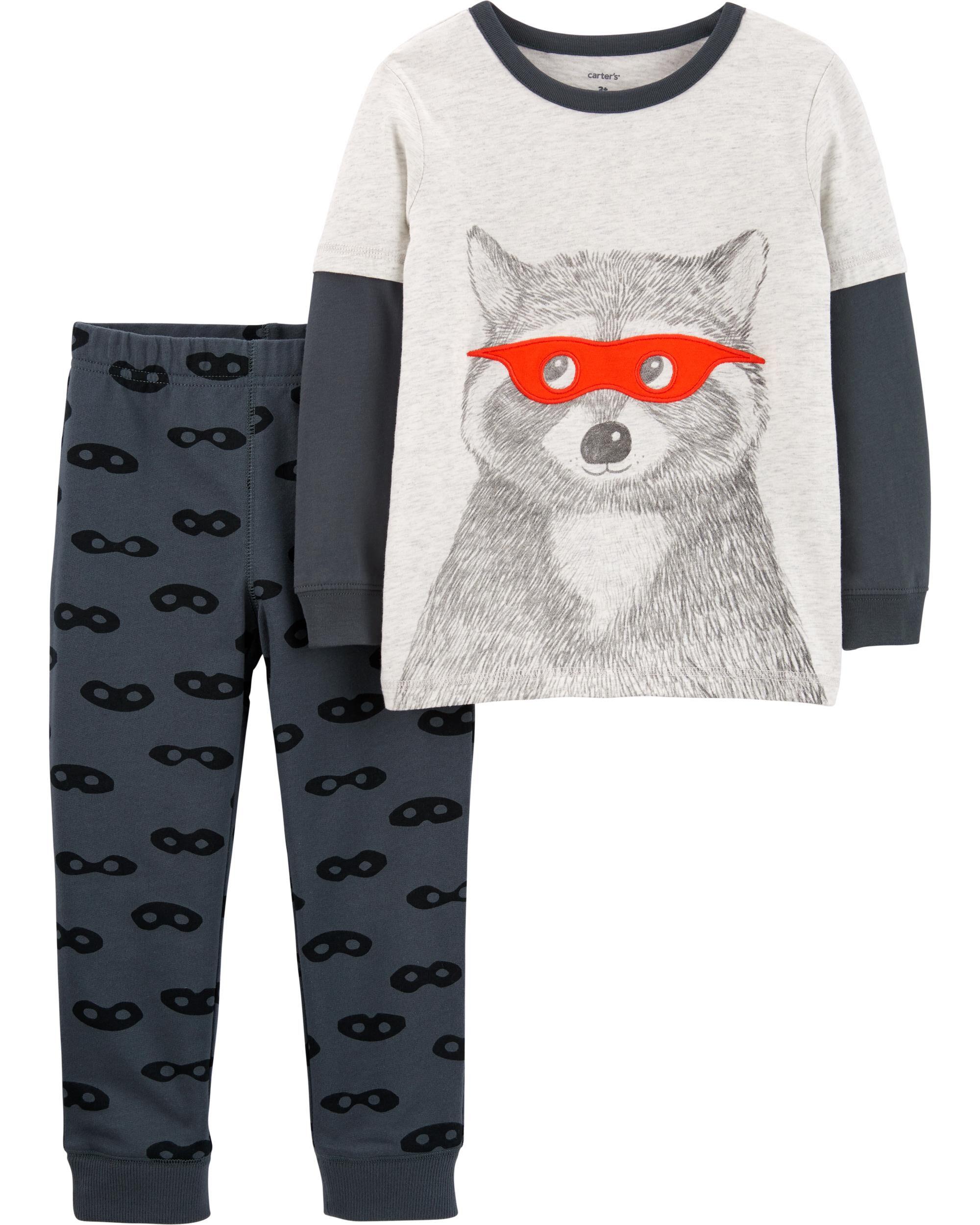 2-Piece Raccoon Layered-Look Tee & Mask Print Jogger Set