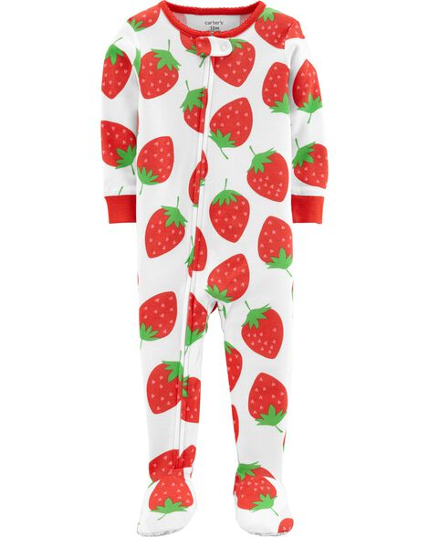 1-Piece Strawberry Snug Fit Cotton Footie PJs