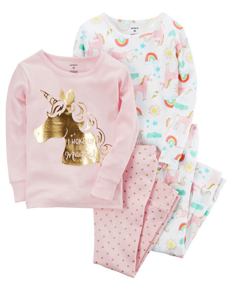 eddbacbe8d28 4-Piece Unicorn Snug Fit Cotton PJs