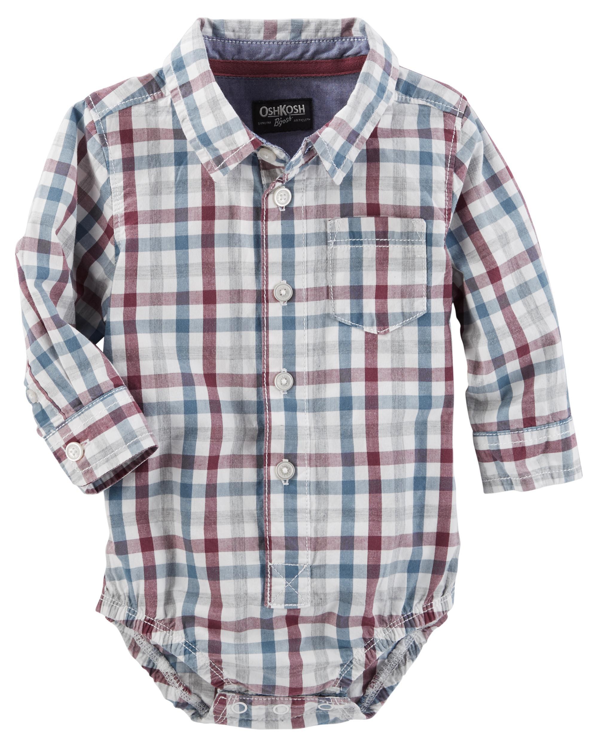 Baby Boy Checkered Button Front Bodysuit