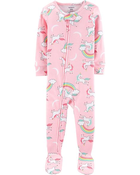 61a7ee7858a2 1-Piece Unicorns Footed Snug Fit Cotton PJs