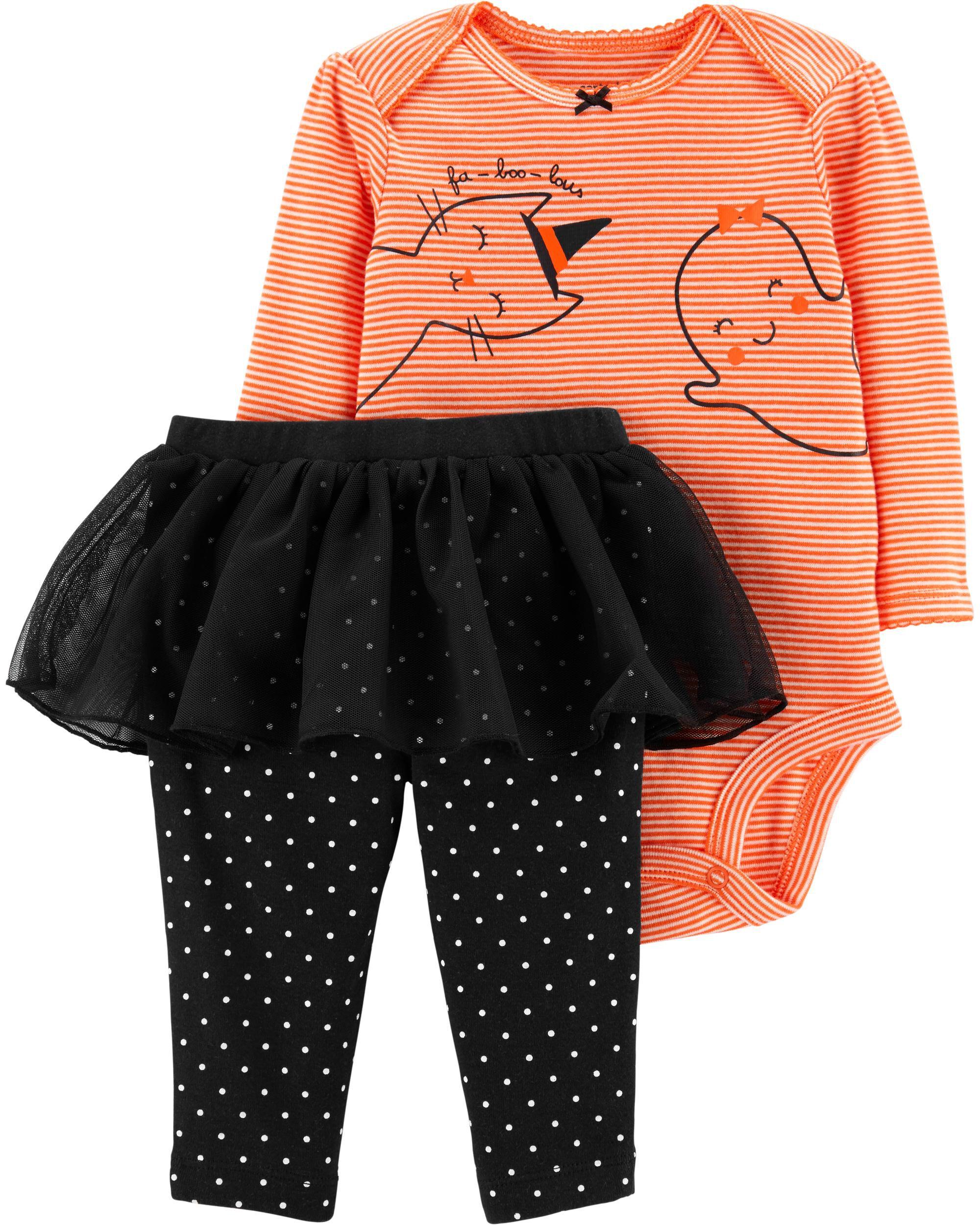 Halloween Bat Orange Cotton Bodysuit Girls Baby Dress Clothing Outfit Set NB-18M