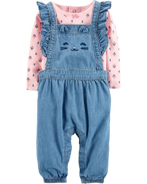 2-Piece Top & Overalls Set