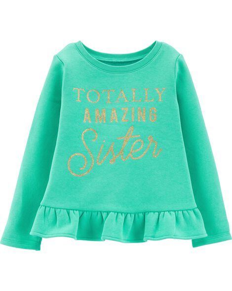 Glitter Amazing Sister Fleece Top