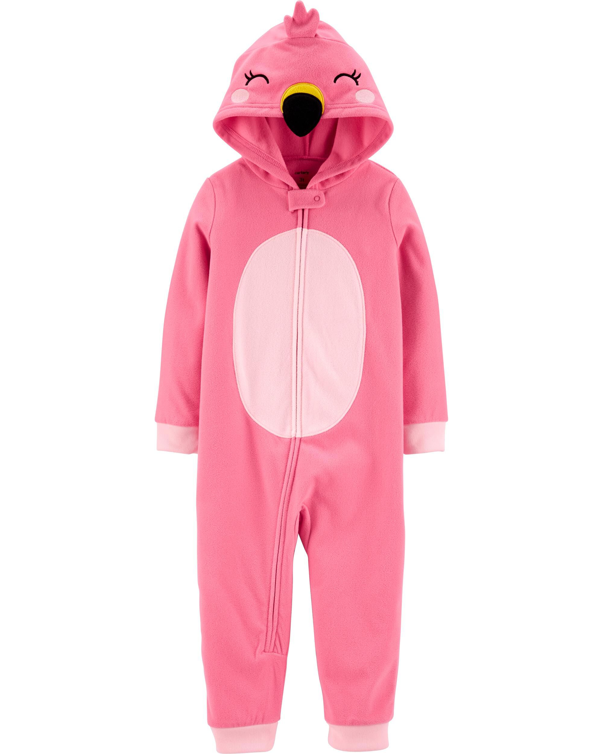 *CLEARANCE* 1-Piece Flamingo Hooded Fleece Footless PJs